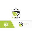 car helm and leaf logo combination vector image vector image