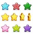 Cartoon colorful glossy stars set game animation vector image vector image