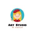 cartoon kids art studio logo vector image