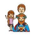 color crayon stripe caricature half body super dad vector image