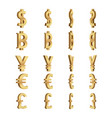 currency dimension symbols set vector image