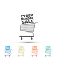 cyber monday sale shopping cart icon isolated vector image vector image