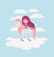 fairy with unicorn in the clouds vector image vector image