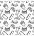 fast food seamless pattern hand drawn pizza vector image vector image