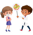 girl wearing mask with doctor holding stop vector image vector image