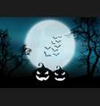 halloween pumpkins in moonlit foggy landscape vector image vector image
