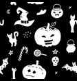 halloween seamless pattern isolated on black vector image vector image
