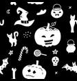 halloween seamless pattern isolated on black vector image