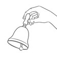 hand ring bell coloring book vector image vector image