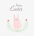 happy easter greeting card with hand drawn bunny vector image vector image