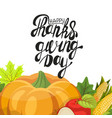 happy thanksgiving day leaves and pumpkin banner vector image vector image
