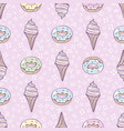 ice-cream cone and donut sweet set seamless vector image vector image