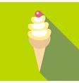 Ice cream in cone icon flat style vector image vector image
