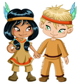 Indian boy and girl holding hands for thanksgiving vector | Price: 3 Credits (USD $3)
