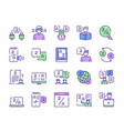 language learning outline icons set vector image