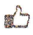 large group of people in the shape of like sign vector image vector image