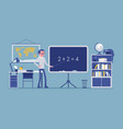 male teacher stands at the blackboard vector image vector image