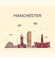 manchester skyline big city england linear vector image vector image