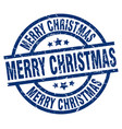 merry christmas blue round grunge stamp vector image vector image