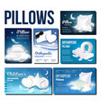 pillows for sleeping advertising banner set vector image vector image