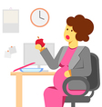 pregnant woman eating in the office vector image vector image