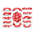 red ribbon banners collection vector image vector image