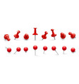 red thumbtack push pins in different angles vector image vector image