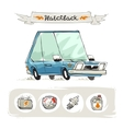 Retro Small Hatchback Set vector image