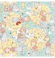 seamless pattern with cute girl princess vector image vector image