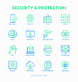security and protection thin line icons set vector image vector image