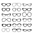 sunglasses silhouette of different types and sizes vector image vector image