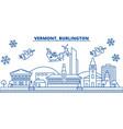 usa vermont burlington winter city skyline vector image vector image