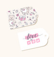 valentines day paper tags with hand lettering sign vector image vector image