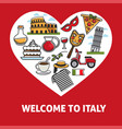 welcome to italy promotional poster with country vector image vector image