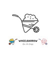 wheelbarrow icon gardening and building tools vector image vector image