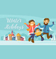 winter family holiday card banner poster vector image