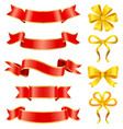 wrapping gift boxes with festive ribbons and bows vector image