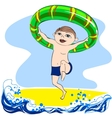 Boy with rubber ring vector image