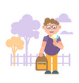 a boy with a backpack vector image