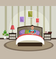a man is reading a book in bed interior of the vector image vector image