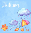 aquarelle background with autumn elements vector image