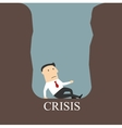 Bankrupt businessman sitting in a crisis pit vector image vector image