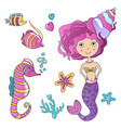 beautiful cute little siren mermaid with vector image vector image