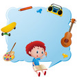 border template with boy writing in book vector image vector image