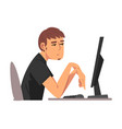 bored employee man working with computer lazy vector image vector image