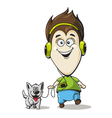 Boy in headphones with a dog vector image