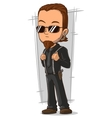 Cartoon awesome bodyguard in black sunglasses vector image vector image