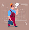 cartoon builder with light bulb wearing uniform vector image