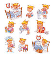 cartoon kid daily routine activities set vector image vector image