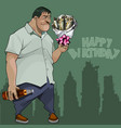 cartoon man with a bouquet of fish happy birthday vector image vector image